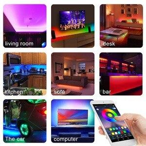 Image 5 - RGB Tape Bluetooth USB LED Strip TV Background Flexible Neon Ribbon tira Lamp 5V 0.5M SMD 5050 RF Controller LED RGB Strip Light