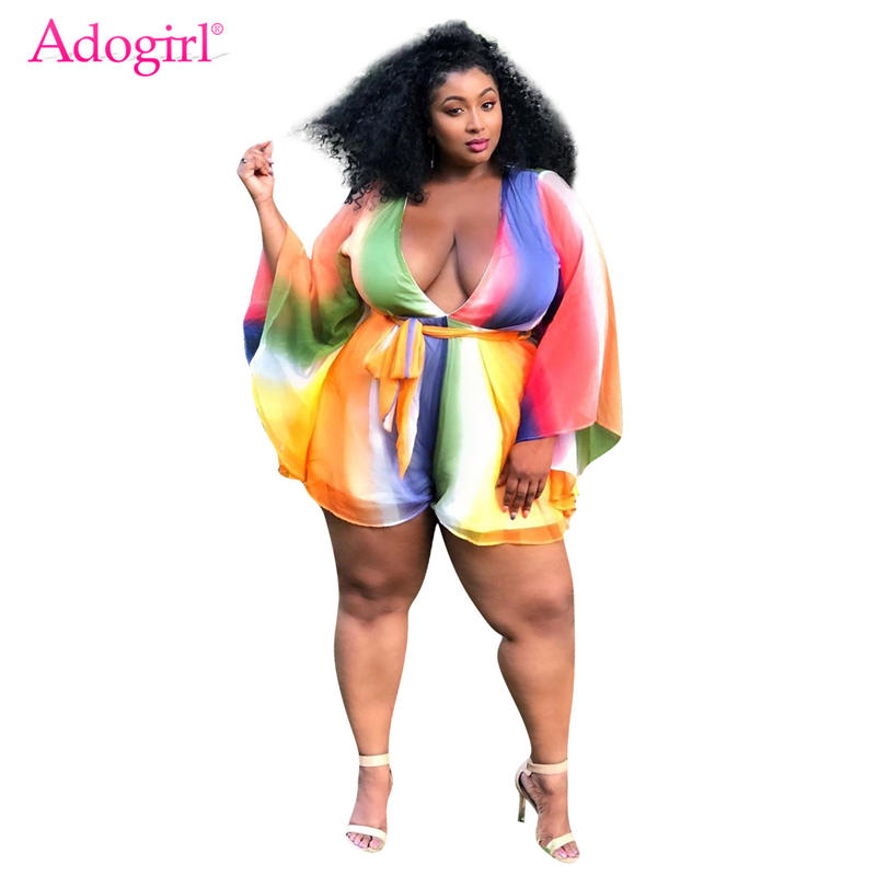 Adogirl XL-4XL Plus Size Women Playsuit Changing Color Stripe V Neck Flare Long Sleeve Fashion   Jumpsuits   Chiffon Romper Overalls