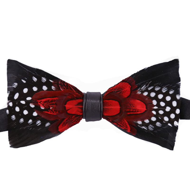 Feather Bow Tie Polyester Men's Unisex Natural Red Black Plumage Banquet Nightclub Performance Wedding Groom Classic Bowtie