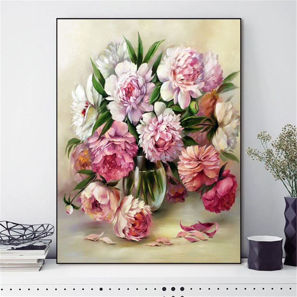 HUACAN DIY Cross Stitch Flowers In Vase Cotton Thread Painting Embroidery Kits Needlework 14CT Home Decoration