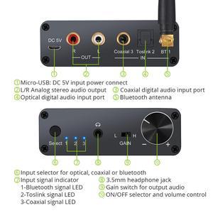 Image 2 - Prozor 192kHz Bluetooth DAC ממיר עם מגבר אוזניות 3.5mm אודיו מתאם עבור APT X AAC SBC דיגיטלי לאנלוגי ממיר