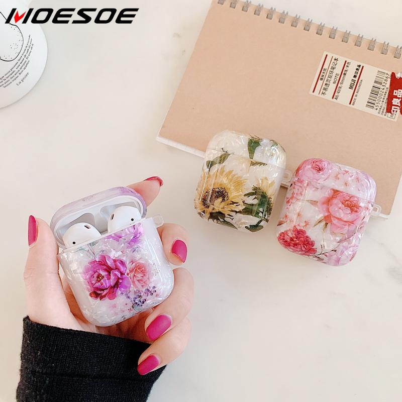 Case For Original Apple Airpods Case Conch Floral Cute Cover For Apple Airpods 2 1 Case Accessories Headphones Air Pods Case Box