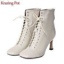 كرازينغ وعاء الفرنسية خمر لينة حقيقية أحذية من الجلد ساحة تو عالية الكعب الصلبة أزياء من الدانتل حتى الشتاء الجمال حذاء من الجلد L53