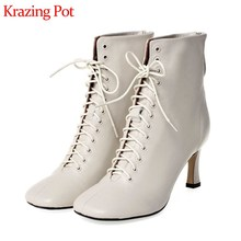 Krazing Pot French vintage soft genuine leather shoes square toe high heels solid fashion lace up winter beauty ankle boots L53