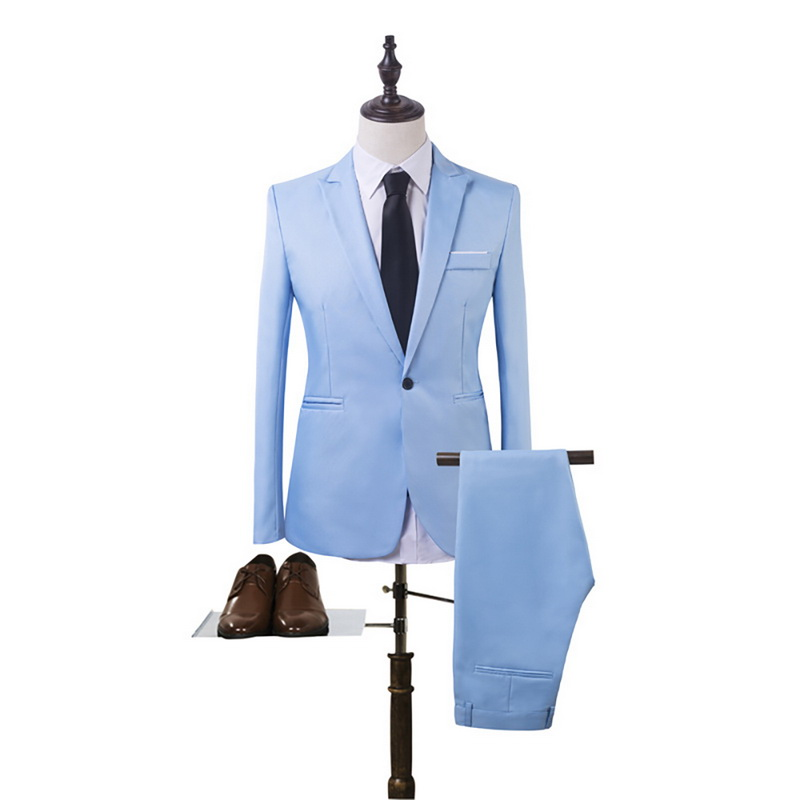 2020 Business  Blazer+Pants Suit Men Spring Fashion Solid Slim Wedding Set Vintage Classic Fitness Grace New 2 Pieces Fitness