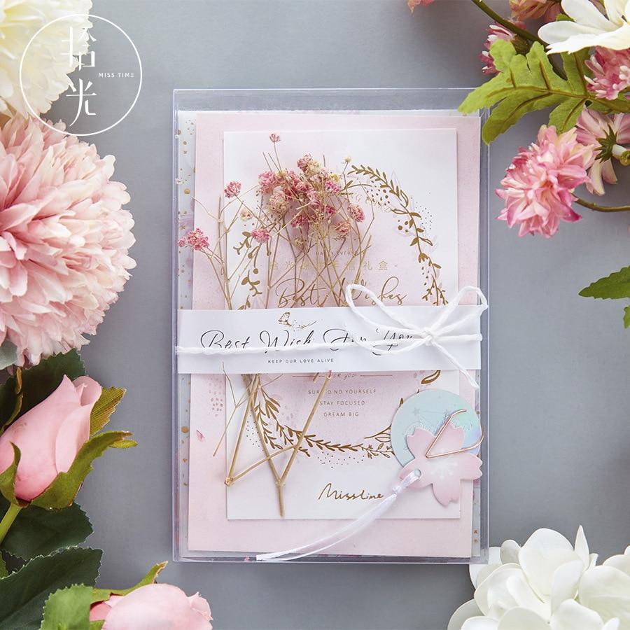 Envelope Set Envelope Greeting Card Letter Paper Sticker Dried Flower Set Bronzing Envelopes Set Christmas Gift Vintage Envelope