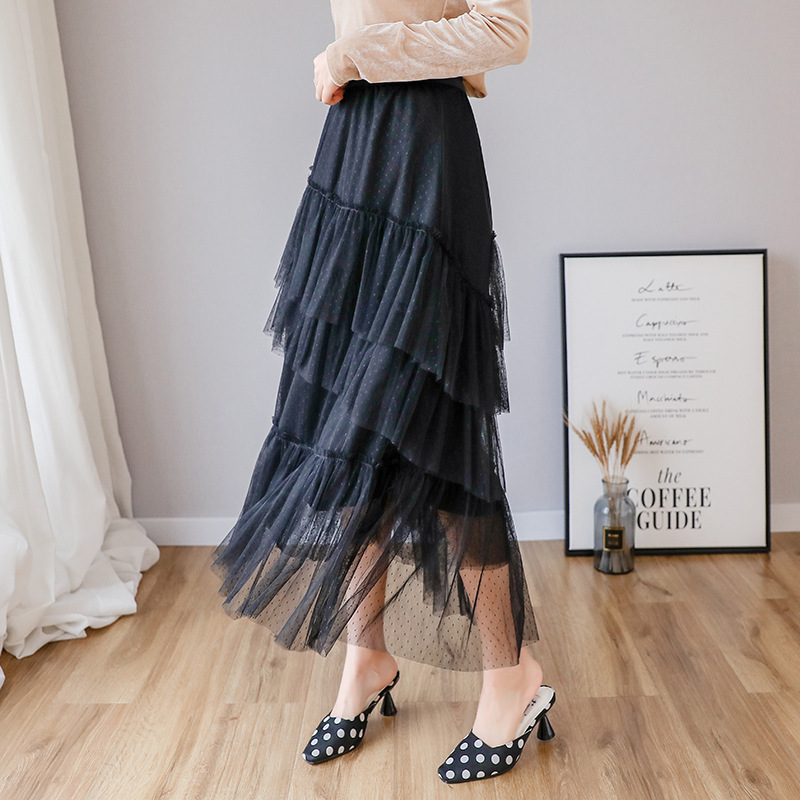 2020 Spring Clothing New Style Half-length Pleated A- Type Fairy Long Skirts Mid-length Lotus Leaf Mesh Dress INS Super Fire Net