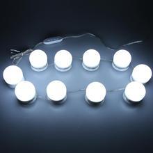 10 светодиодный светильник, лампы, Набор ламп, косметическое зеркало для макияжа, 3 цвета, яркость, регулируемый светильник ed, Голливудский стиль, косметическое зеркало