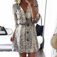B Women Summer Dresses Snakeskin Printed Dress Sexy V-Neck Button Snake Print Party Dresses Vintage Half Sleeve Mini Dress*