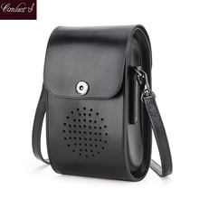 Contact's Genuine Leather Mini women shoulder bag luxury crossbody bags for women 2020 Girls Brief Flap phone pouch bolsos mujer flower princess brand girls canvas small shoulder bags for women ladies fashion flap bag woman crossbody bags bolsos mujer sac