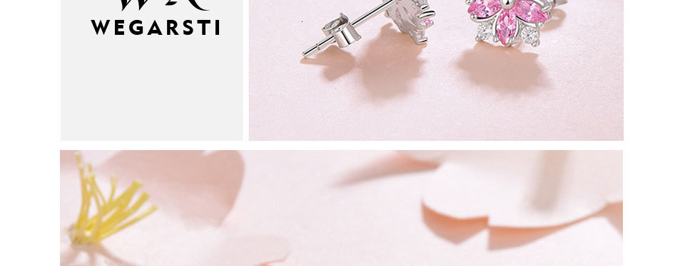 He49225b281364fc8bbd837a0b742c9dag - WEGARASTI Silver 925 Jewelry Earrings Woman Pink Cherry Earring 925 Sterling Silver Earrings Wedding Earring