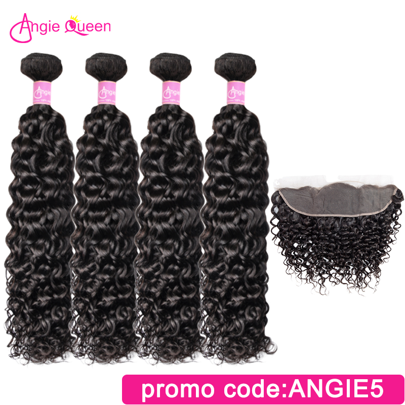 Angie Queen Water Wave Indian Remy Hair 100% Human Hair Bundles With Frontal Lace Frontal With 4 Bundles Natural Color L