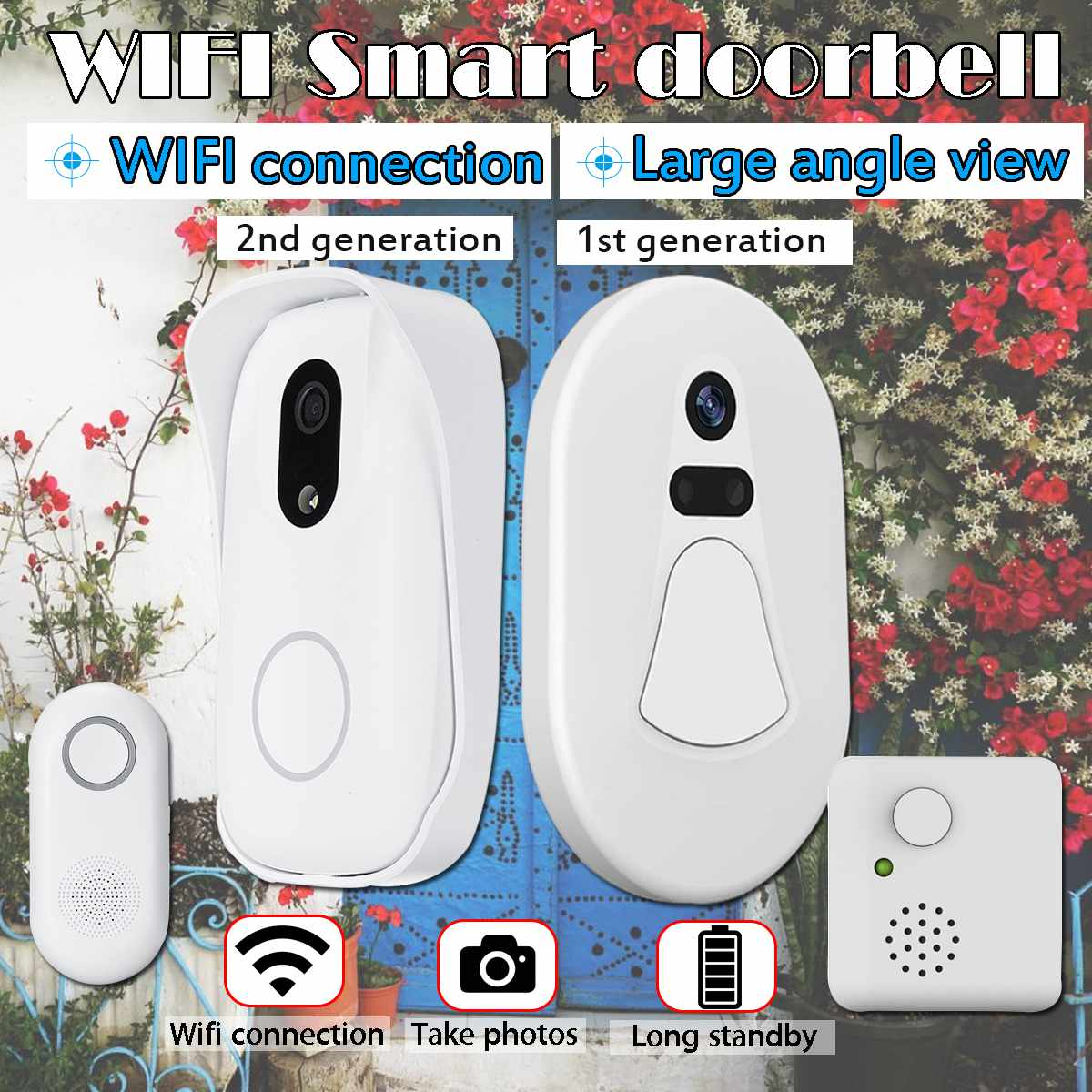Waterproof WIFI Doorbell Photo-taking Night Vision Security Door Bell Wireless HD Photo Indoor Outdoor Alarm For Burglarizing