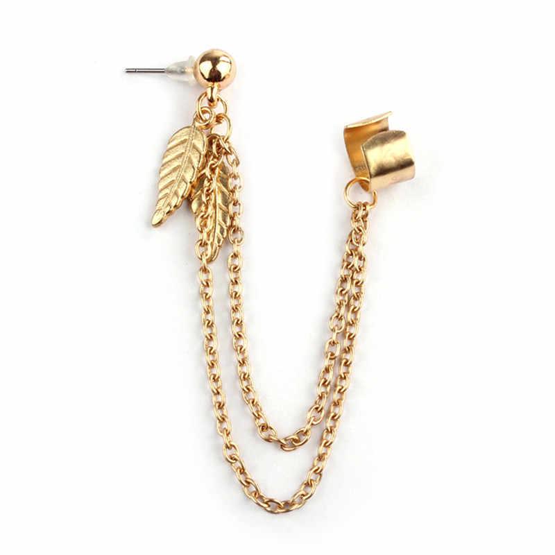 הגעה לניו תכשיטי פאנק עלה גדילים עגילים ארוכים להתנדנד אוזן קליפ כסף זהב/רסיס קסם Stud עגילים לנשים מתנות