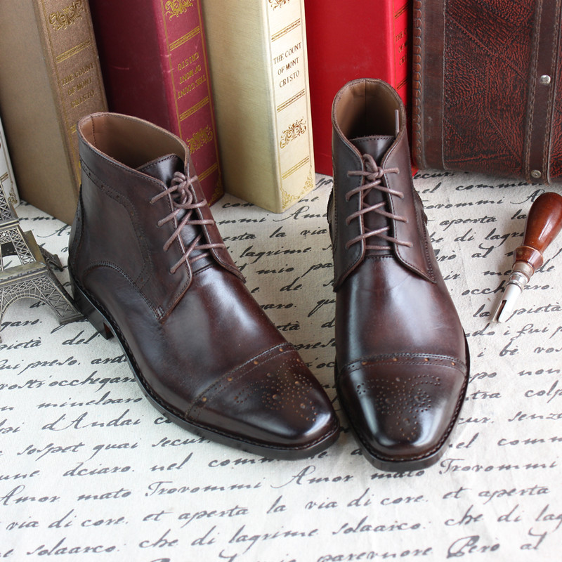 Business High-top Grade Custom-made Shoes Calfskin Sole Men Shoes Hommes Chaussures Brogue Carved Cowhide Leather Pointed Toe
