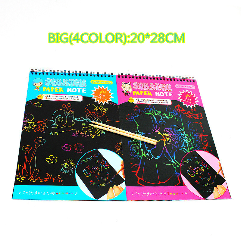 Scratchbook Scratch StickersNotebook Drawing Toys Children Stationery Gifts Creative Cardboard DIY Random Drawing Paper To Send