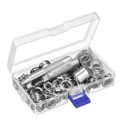10mm średnica wewnętrzna przelotka narzędzie do ustawiania zestaw 100 zestaw przelotki oczka z pudełkiem w Zestawy narzędzi ręcznych od Narzędzia na
