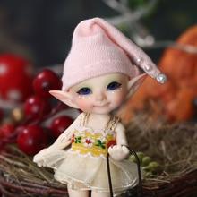Realpukiププをfreeshippingおとぎの国fl人形bjd 1/13ピンク笑顔エルフのおもちゃ小型樹脂関節人形