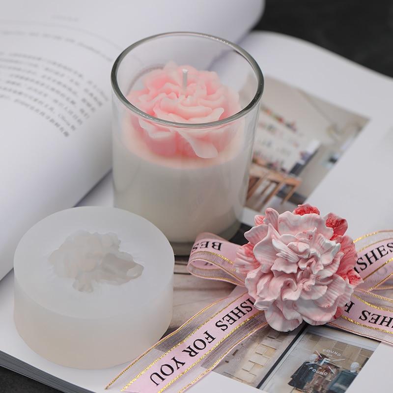 3kinds Carnation Rose Flower Candle Mold 3D Flower Silicone Mold Handmade DIY Flower Soap Mold