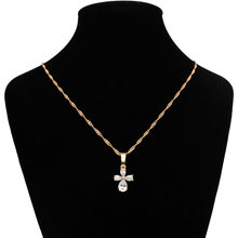 45cm Croix Pendentif trèfle colliers femmes africain or bijoux fantaisie cadeaux Colgante Cruz bisutérus Mujer Pendentif Croix N0513