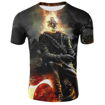 2020 camisetas de calavera para hombre, camiseta moderna de verano de manga corta Ghost Rider, camiseta fresca 3D con estampado de calavera azul, camiseta de calavera con fuego Rock para hombres