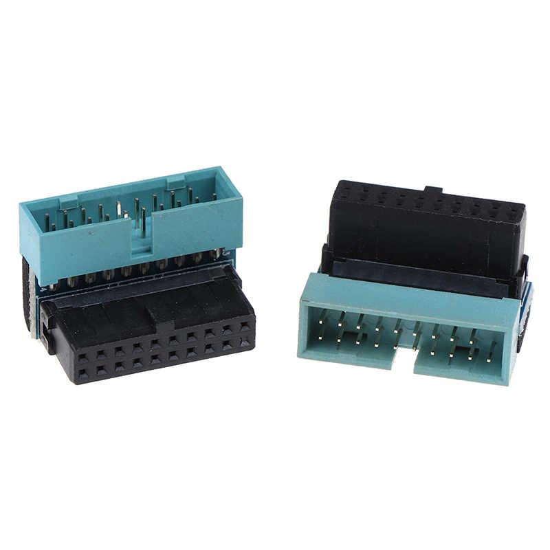 Nuevo 1 unidad USB 3,0 20pin extensión de macho a hembra adaptador arriba abajo angulado 90 grados para placa base