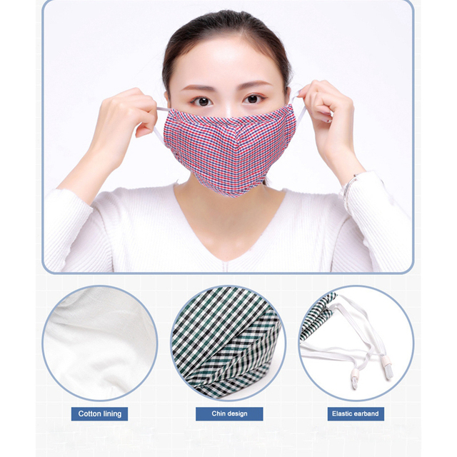 3/4pcs Cotton Mouth Mask Reusable Dust Flu PM2.5 Face Masks Activated Carbon Filter Windproof Adjustable Ear Strap 20*13cm 2