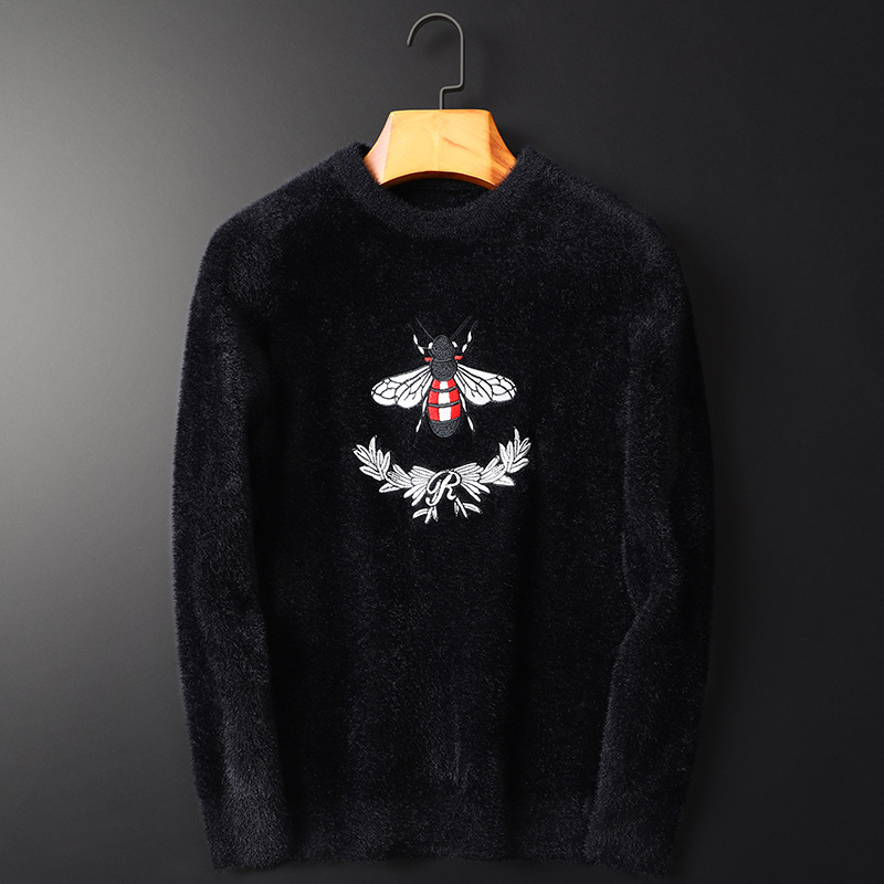 New 2019 Men Luxury Winter Hot Bee Stripes Embroidered Casual Sweaters Pullover Asian Plug Size High Quality Drake #N40
