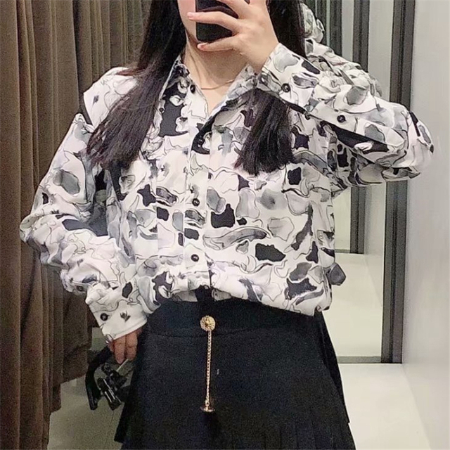 White Shirt with black ink print