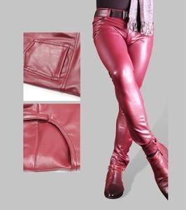 Image 4 - Sexy Men Faux Leather Pu Matte Shiny Fashion Pants Role Men X Soft Skinny Gay Pants Zipper Open Pencil Pants Gay Wear FX130