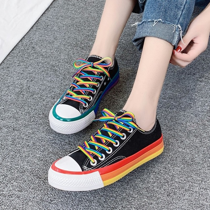Women New 2020 Rainbow Bottom Canvas Shoes Student Korean Walking Crystal Sole Girls Casual Sneakers Female Trainers W31-75