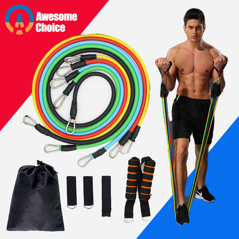 Quality 11 Pieces Resistance Bands Set Yoga Exercise Fitness Band Rubber Loop Tube Bands Gym Fitness Exercise Pilates