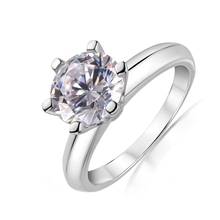 QYI Silver 925 Rings Women Engagement Jewelry Round Simulated Diamond Very Shiny Wedding Gift Stone Size 1/1.5/2/3 Ct