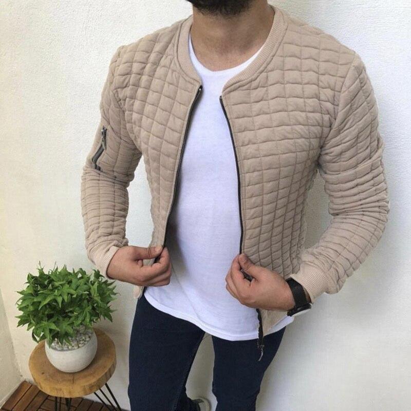 2020 Men's Autumn Plaid Slim Fit Jacket Long Sleeve Zipper Coat Streetwear Solid O Neck Overcoat Male Casual Hip Hop Man Jacket