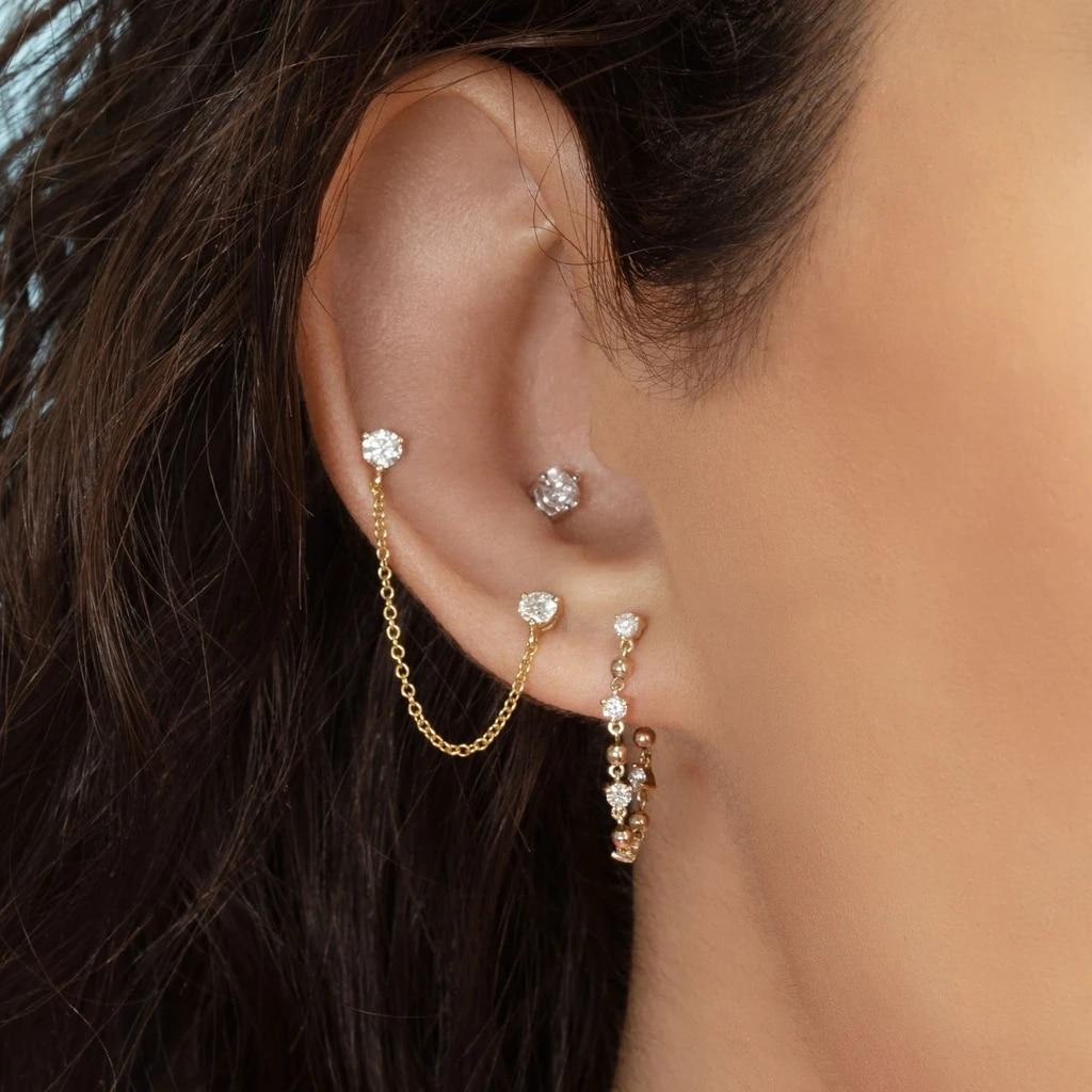 Ear Piercing Double Stud Earrings Gold Silver Color Long Chain Crystal Earrings for Women Female Fashion cartilage Brincos 2020