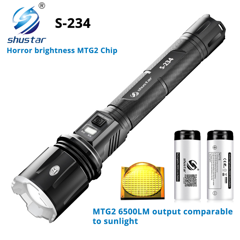 Super Bright LED <font><b>Flashlight</b></font> With MTG2 Wick Comparable to sun rays Waterproof self-defense Torch <font><b>4</b></font> lighting modes For adventure image