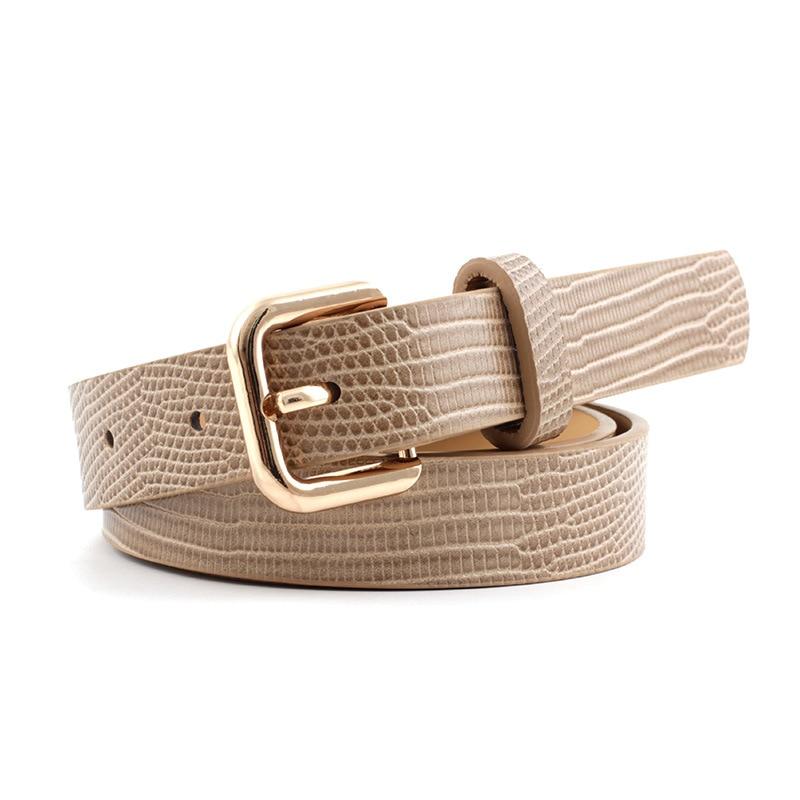 Lizard Skin Snakeskin Pattern Stone Texture Women's Pin Buckle Belt High QualityPU Leather Waistband For Jeans Dress P84