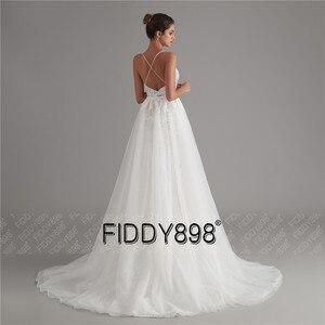 Image 2 - בציר תחרה חתונה שמלת 2020 נצנצים כלה שמלות vestido דה noiva בת ים שמלות כלה עם נתיק רכבת robe דה mariee