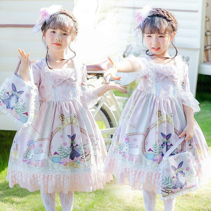 Kawaii Pink Lolita Dress Cartoon Princess Dress Renaissance Printed Dress Baby Girl Victorian Dress Halloween Lolita Outfit