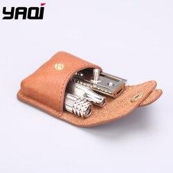 Maquinilla de afeitar de viaje Yaqi Nickle Color con bolsa de cuero
