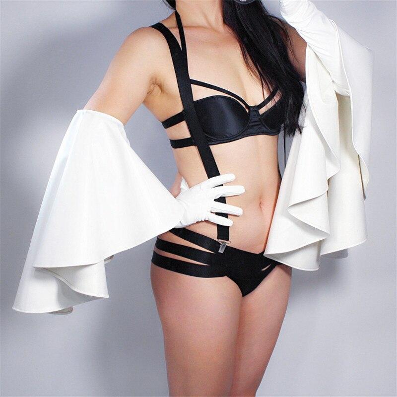 2019 NEW Long Leather Gloves 60cm Oversized Round Lotus Lace Sleeves Simulation Leather White PU Leather Female WPU163