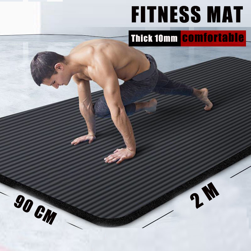 Lengthen men black rubber fitness mat Home workout sport carpet pilates gym yoga mat thick 10MM