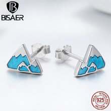 BISAER Hot Fashion 925 Sterling Silver Infinity Blue Unique Iceberg CZ Stud Earring For Women Jewelry HSE475