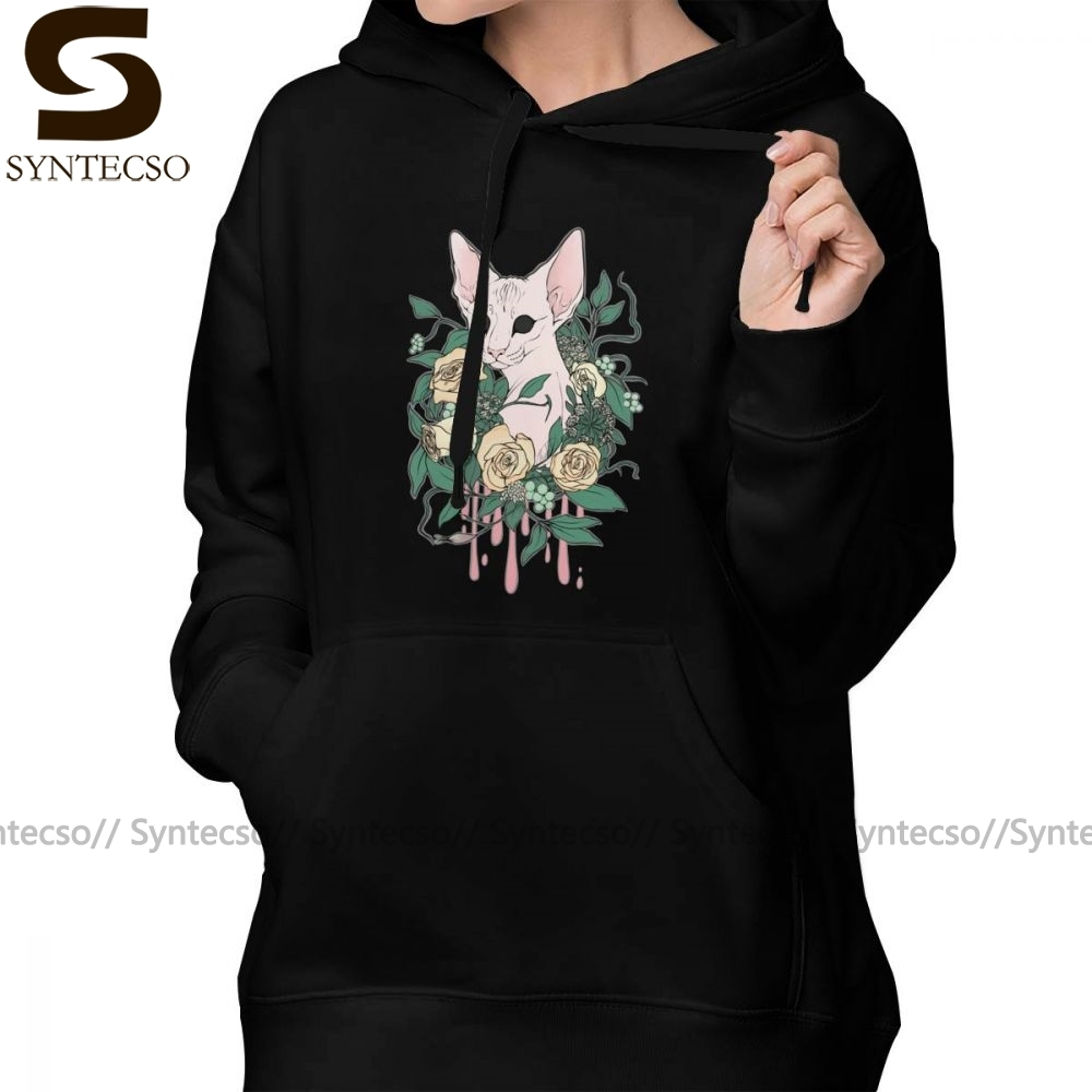 Mens Blue Kitty Hooded Sweatshirt Funny Printed Pullover Hoodies Classic Long Sleeve T Shirt Tops