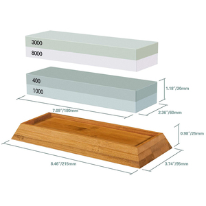 Image 3 - Набор точильных камней, точильный камень 2 в 1, зернистость 400/1000 3000/8000, деревянный держатель с водяным камнем и направляющая для ножей включены