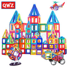 QWZ büyük boy tuğla manyetik tasarımcı inşaat seti modeli yapı oyuncak mıknatıslar manyetik taşları eğitici oyuncaklar çocuklar için