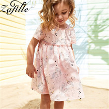 ZAFILLE Unicorn Print Baby Girl Clothes Summer Dress For Short Sleeve Kids Cotton Girls Clothing Toddler