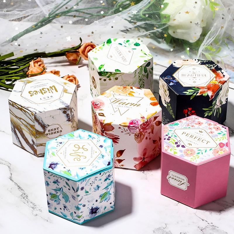 10pcs Mini Flower Pattern Candy Box Wedding Christmas Kids Hexagonal Gift Case Jewelry Storage Holder