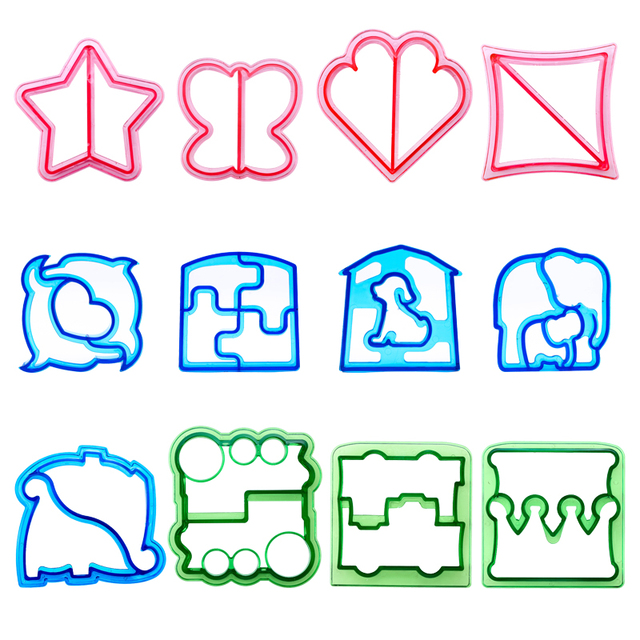 12pcs Lunch DIY Sandwiches Cutter Mould Food Cutting Die Bread Biscuits Mold Gift Kids Lunch Maker Cute Shape