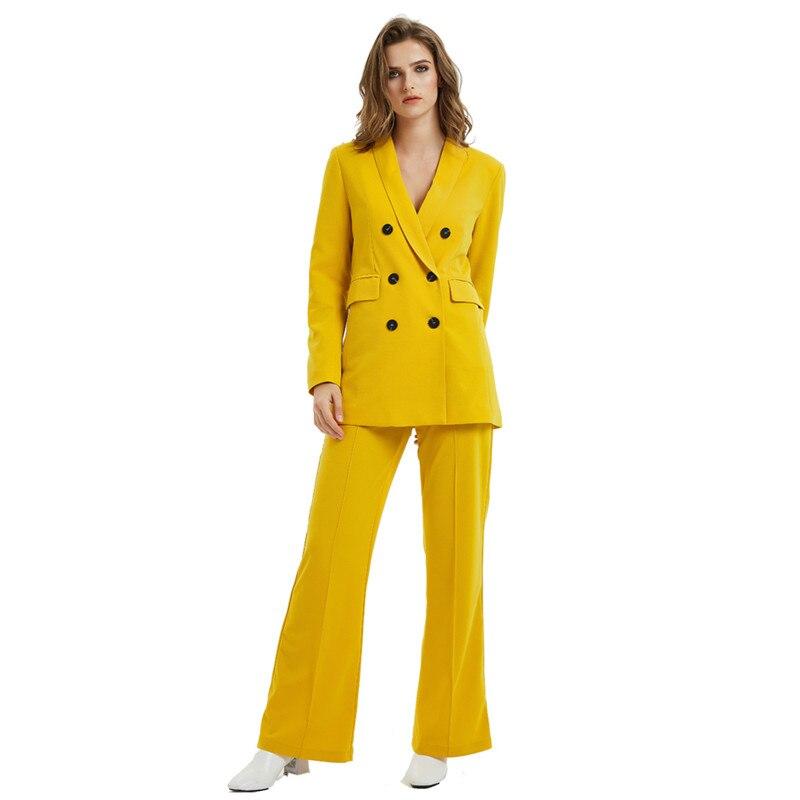 Yellow Color Pants Suits Women Fashion Long Sleeve Jacket Long Wide Leg Pants Women Double Breaste Suits Female Ladies